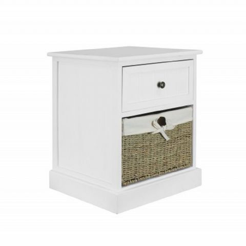 White Bedside Table with Wicker Drawer H 53 x W 42cm